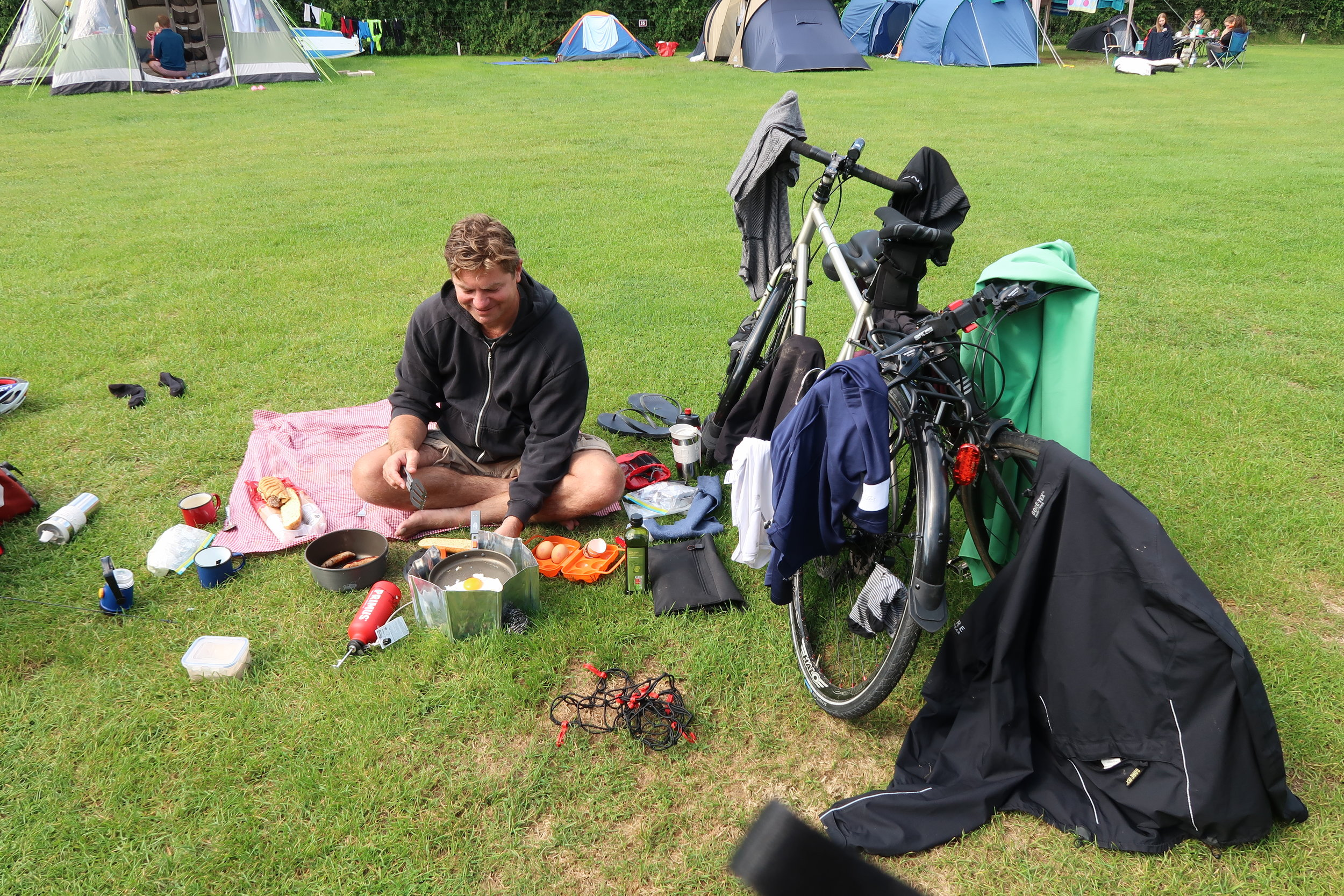 Messy campers, drying out kit over breakfast after a month's rainfall