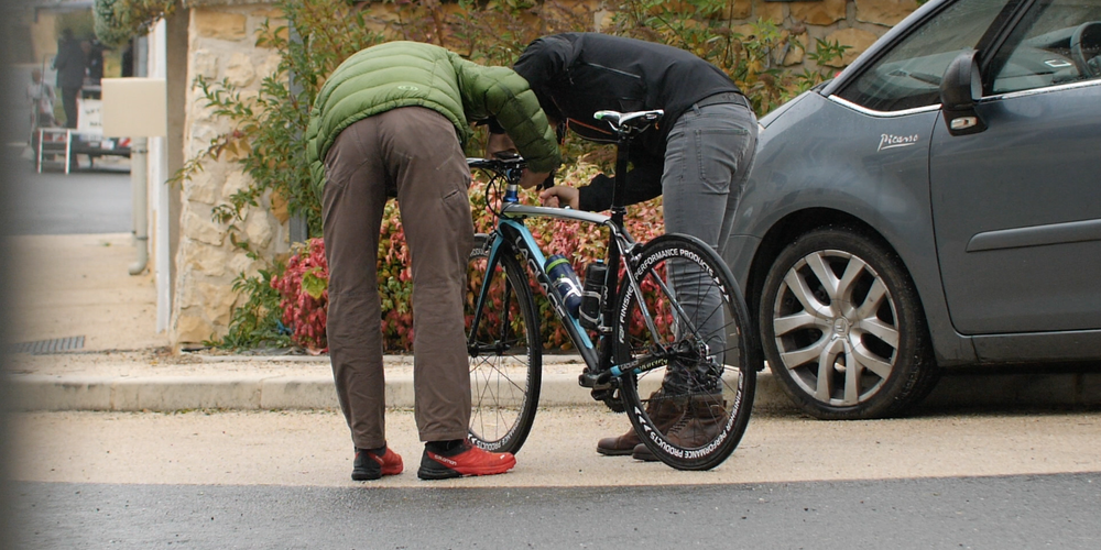 Cyril Fontayne's bike is checked
