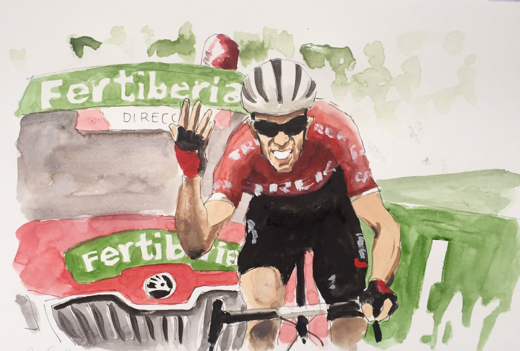 Contador winning Stage 20 of the Vuelta