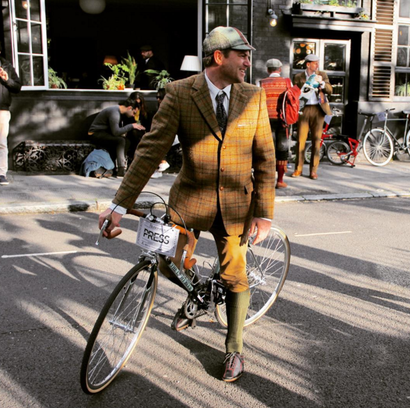 Red stitched Classics at the Tweed Run