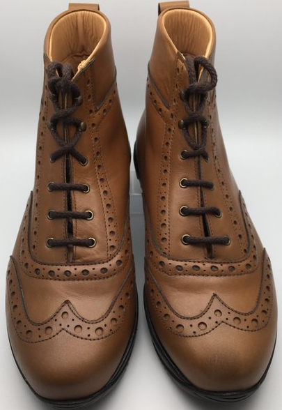 SPD Cycling Brogue Boot in caramel leather
