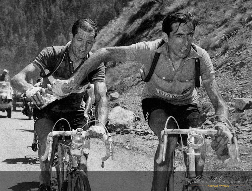 Bartali and Coppi in a famous moment of 'fair play'