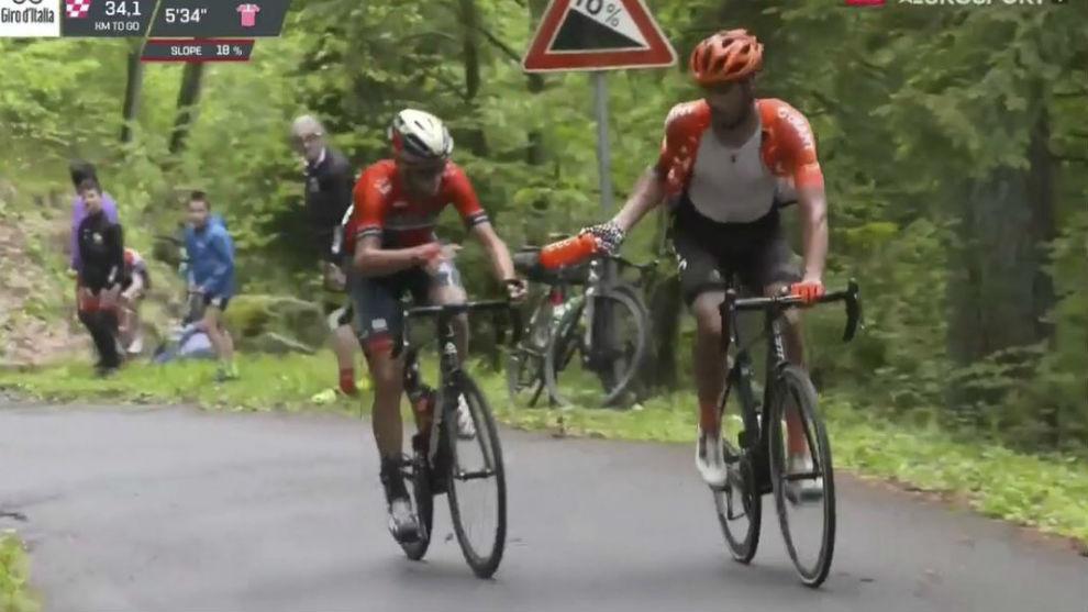 Nibali and Ventoso share a Bartali/Coppi moment