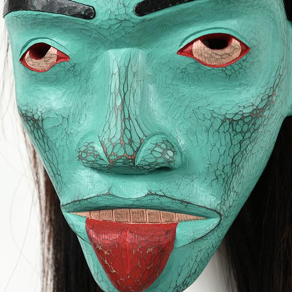 Otter Woman Mask (detail), red cedar, acrylic, horse hair 2017