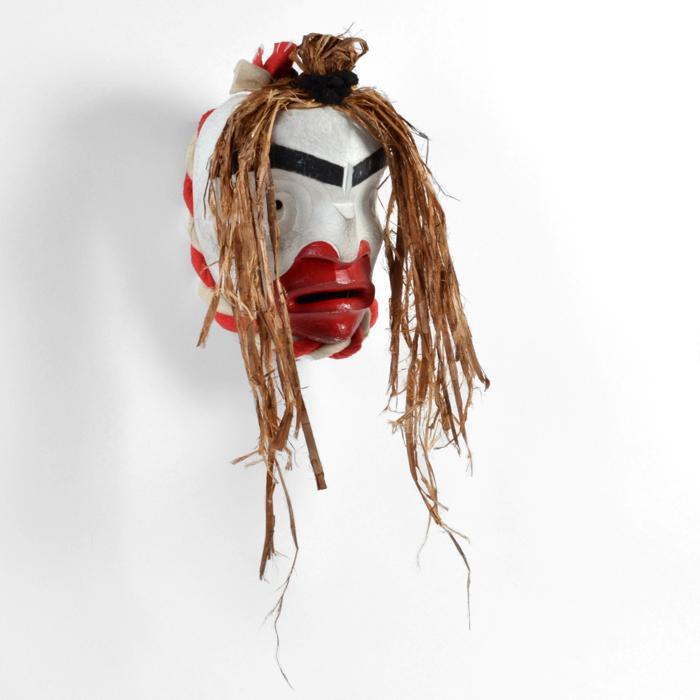 Pugmis Mask, red cedar, acrylic, cedar bark, 2018