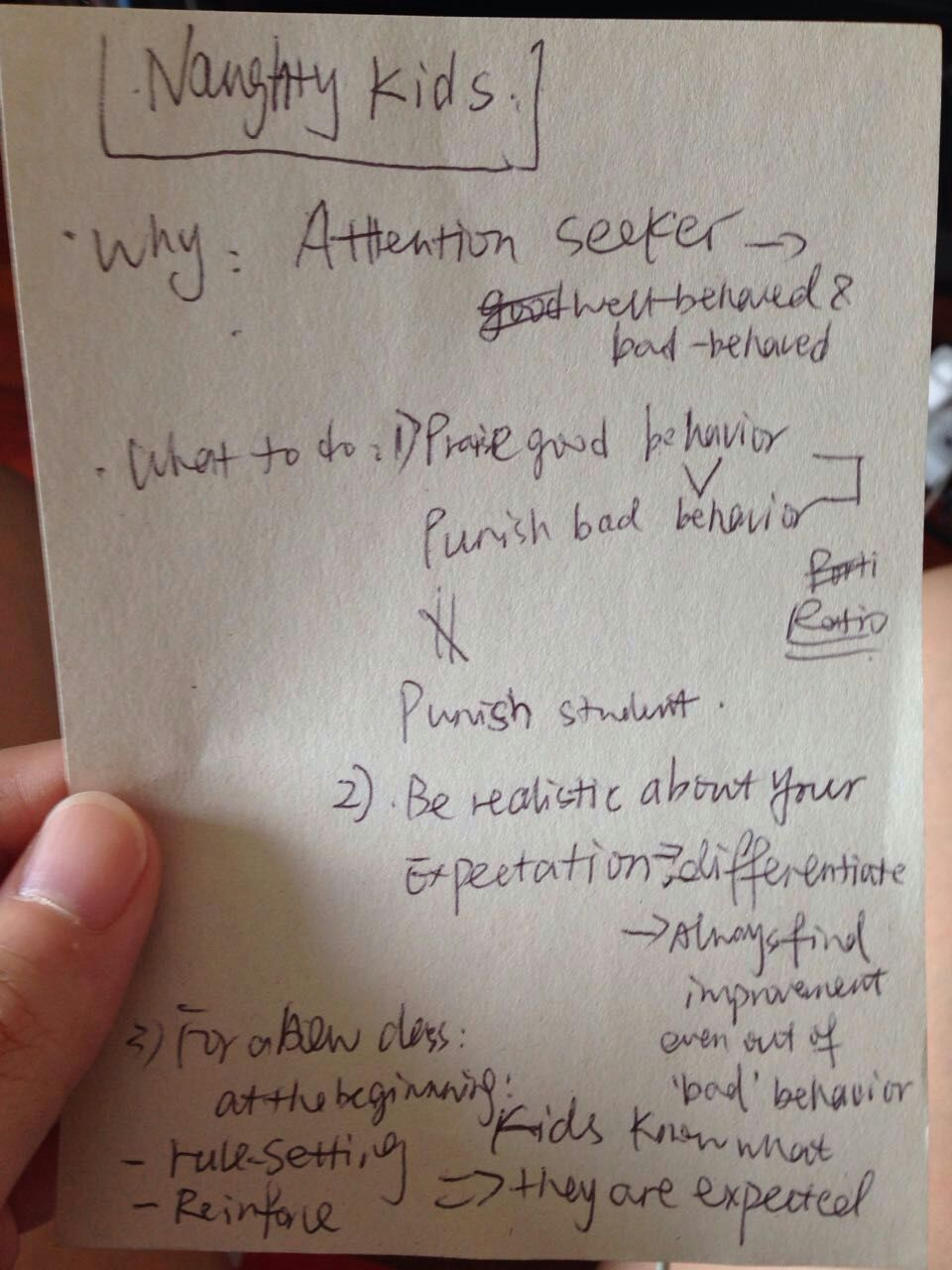 How to get students to behave - podcast notes by Wendy Hu