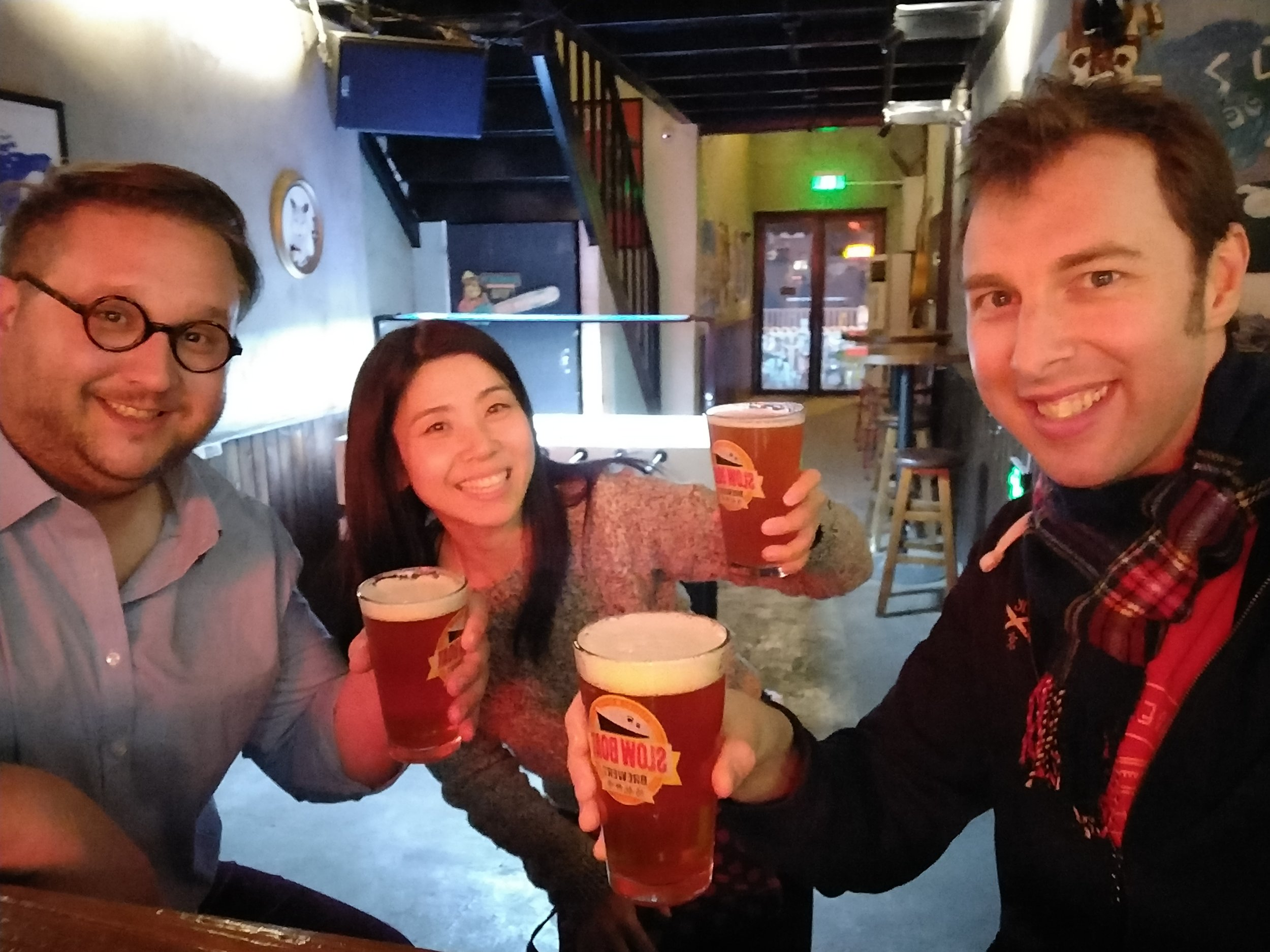 Post podcast beers with (l-r) Matt, Tracy, Ross