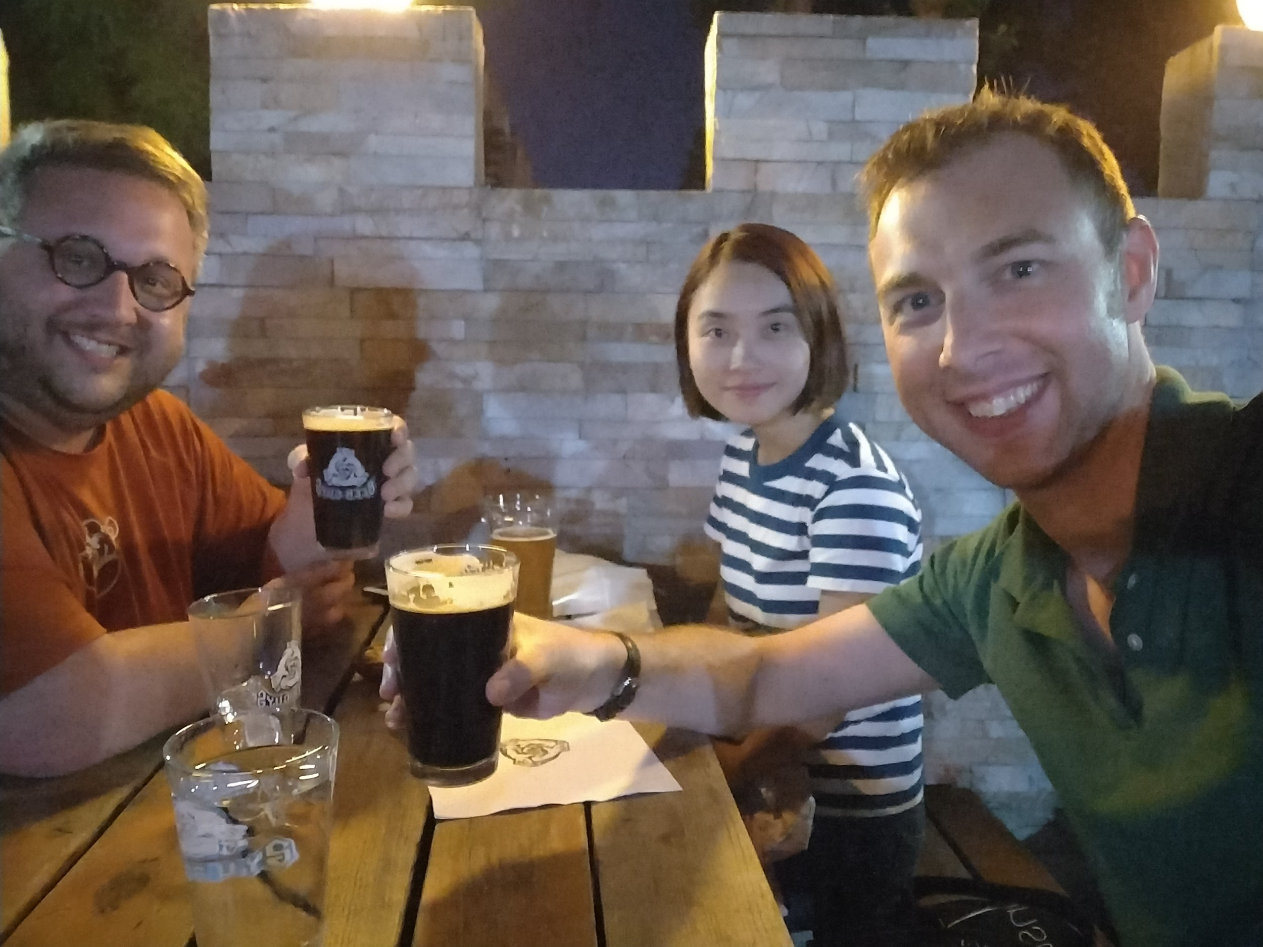 Post-podcast (or was it pre...) drinks with Matt Courtois & Karin Xie