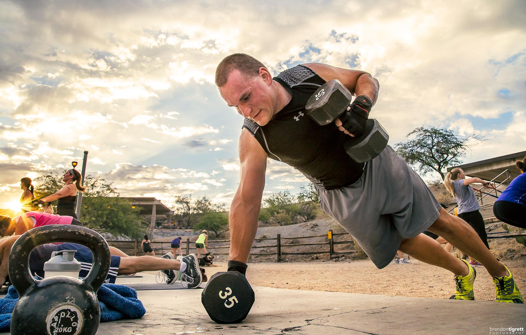 Pushup Dumbbell Row - Fitness Photo Scottsdale, AZ