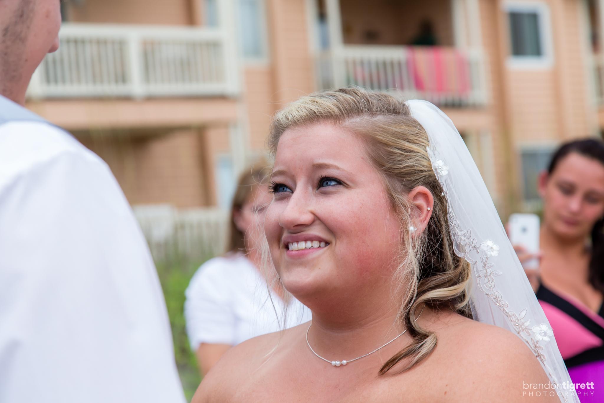 Happy bride's expression