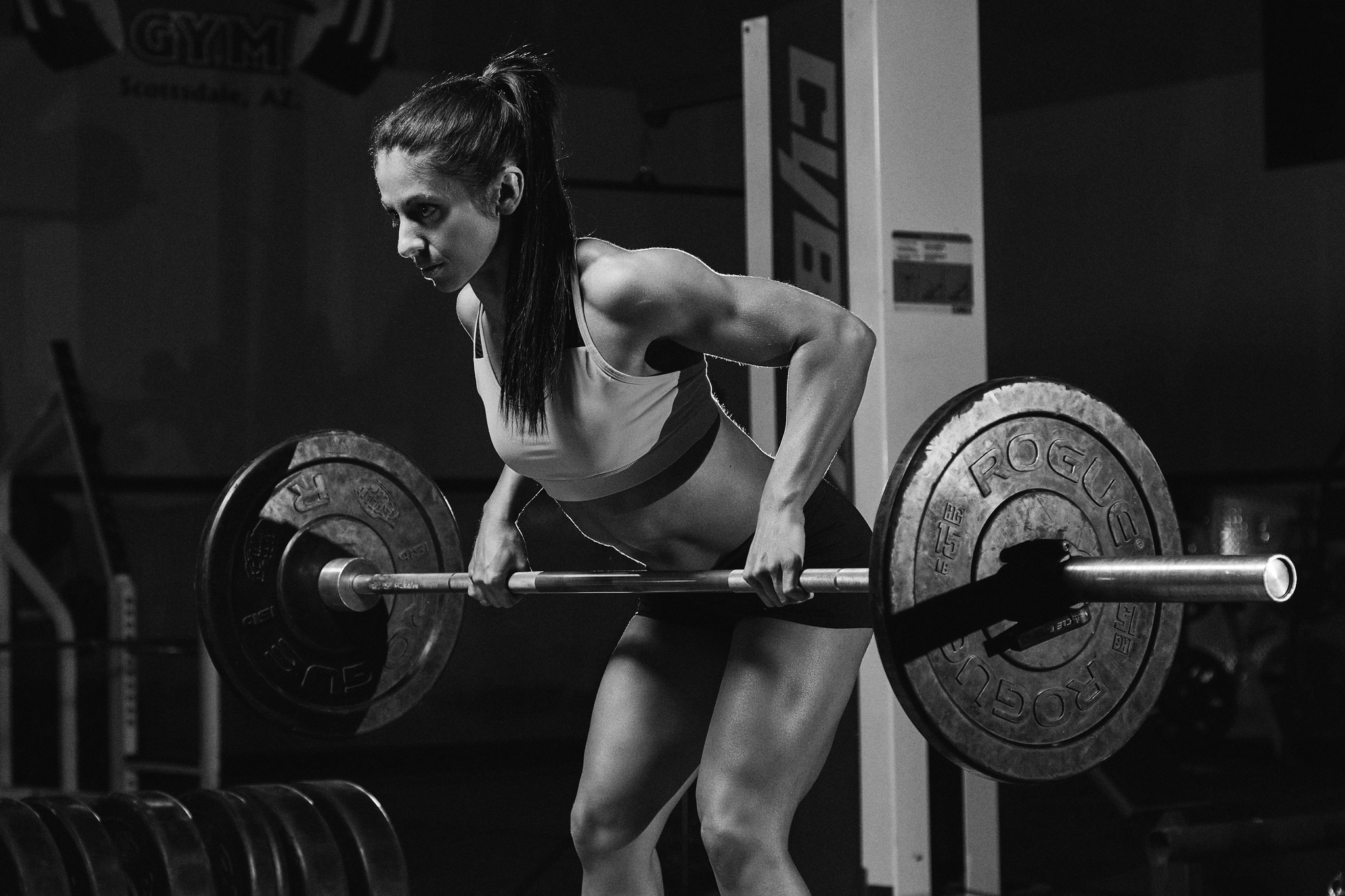 Fitness Competitor Photoshoot - barbell row - April Bleicher