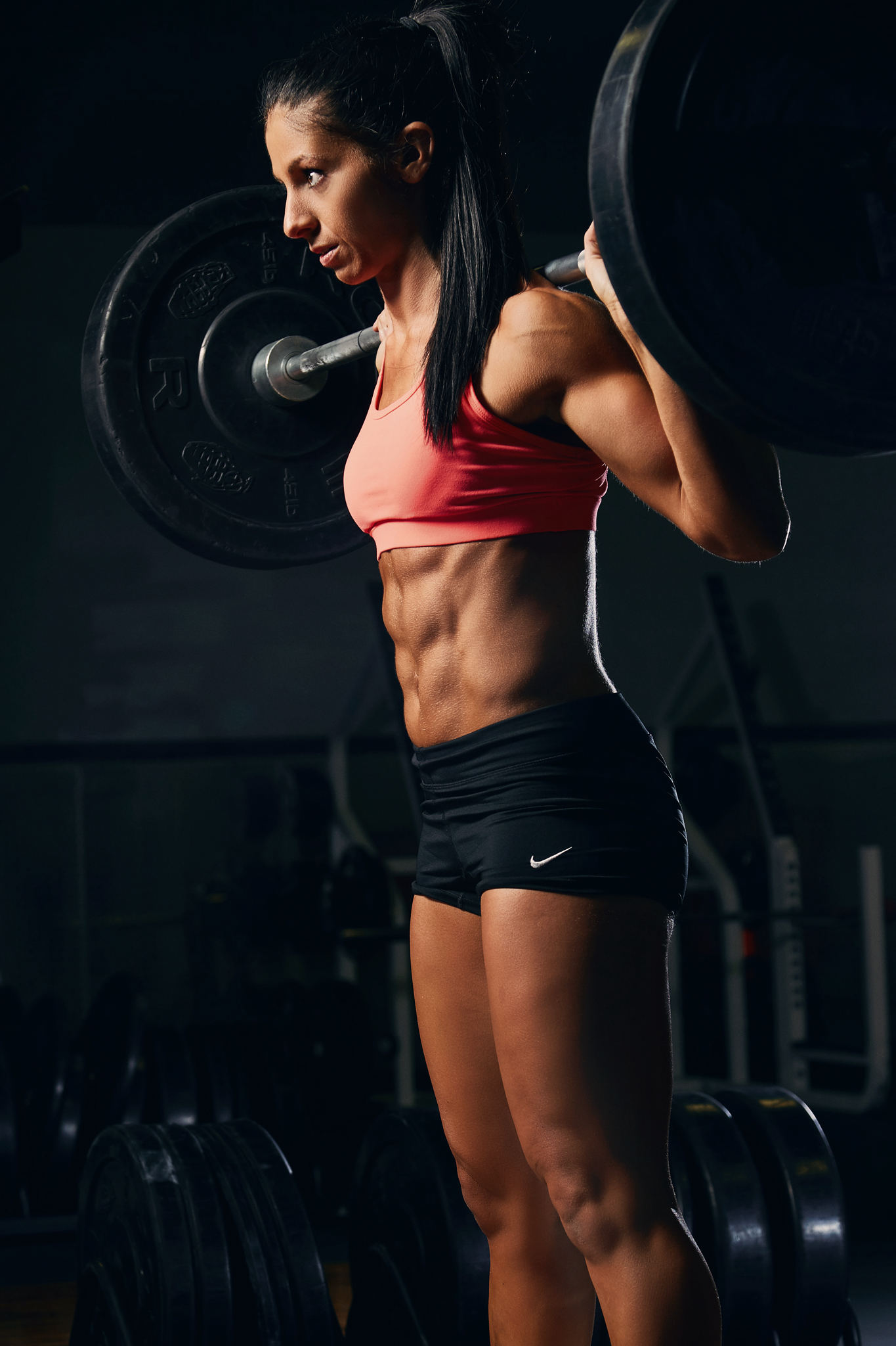 Fitness Competitor Photoshoot - squating - April Bleicher