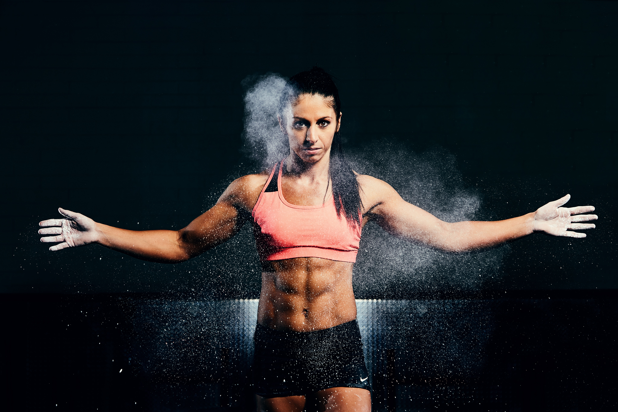 Fitness Competitor Photoshoot - chalk clapping - April Bleicher