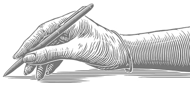 scratchboard illustration of hand writing