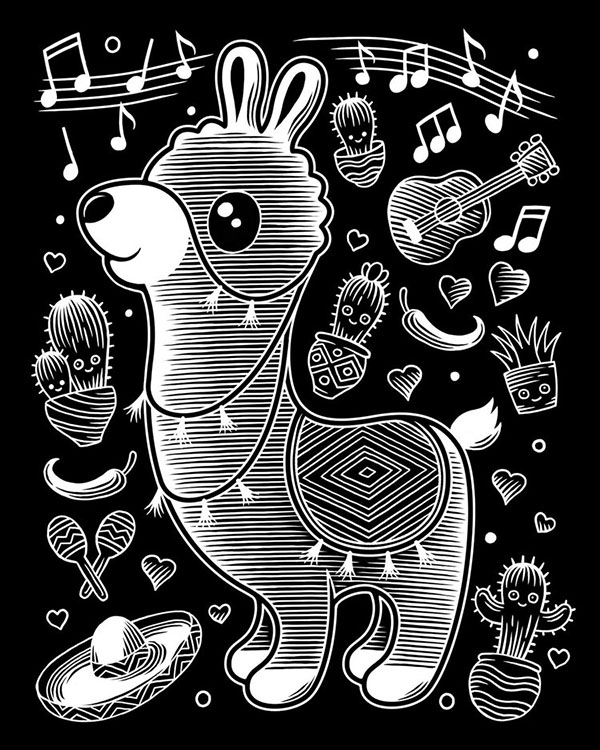 animal character scratchboard illustration