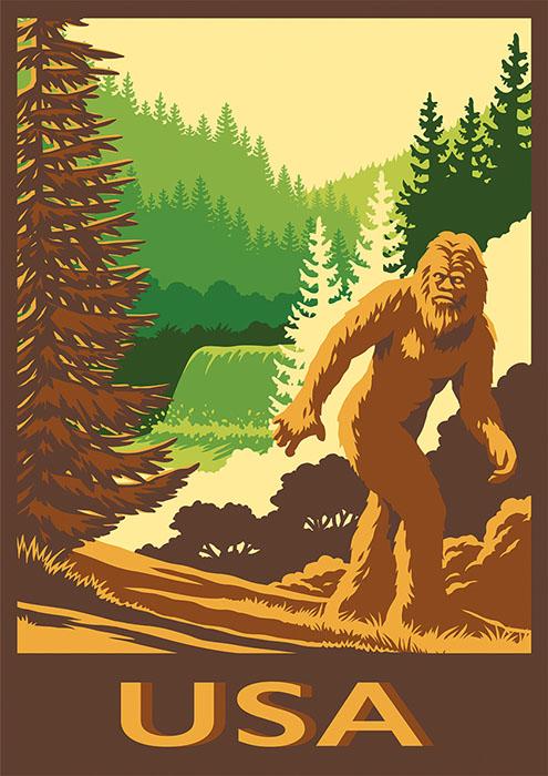 vintage travel poster image depicting American Bigfoot