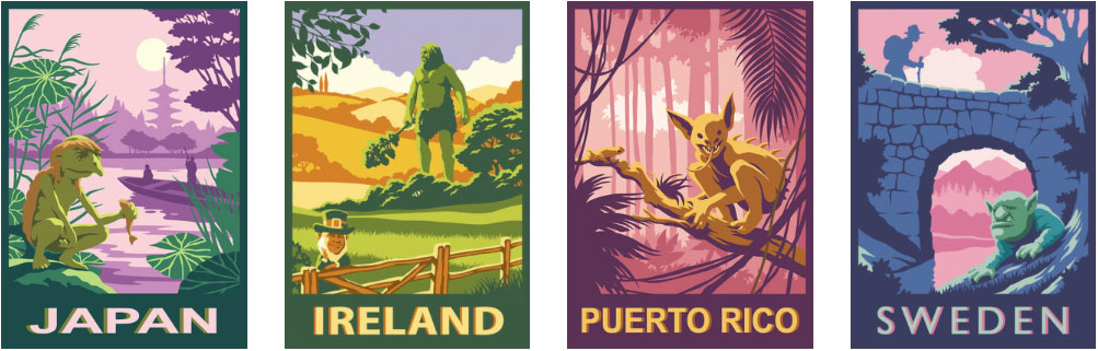 poster images by travel poster illustrator Gary Bullock