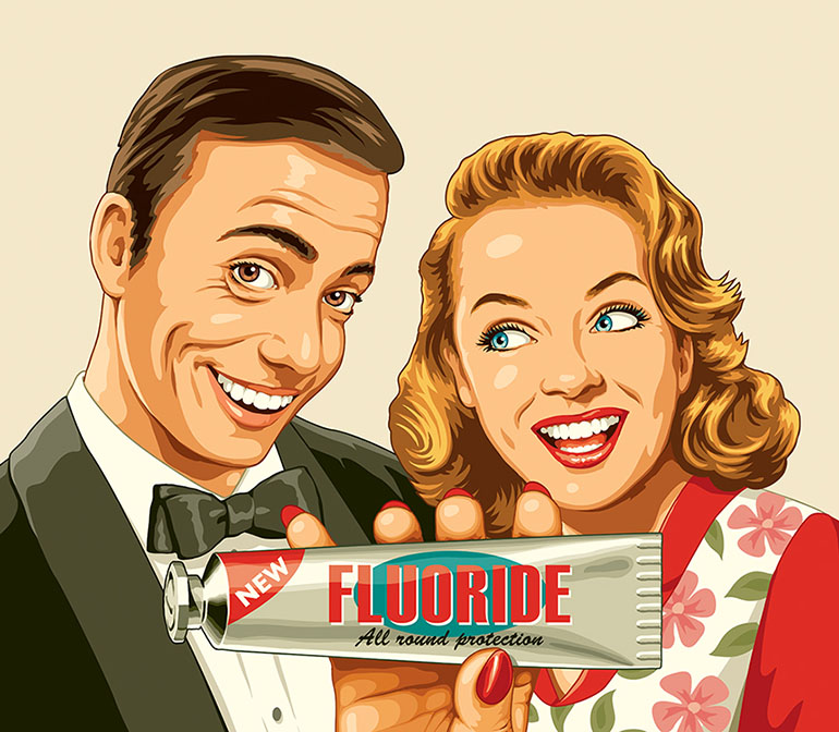 pastiche flat colour illustration of smiling couple