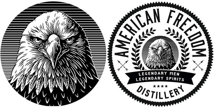 scraperboard eagle logo for package design