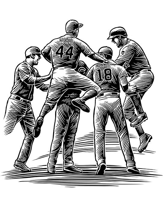 sports players scraper-board illustration