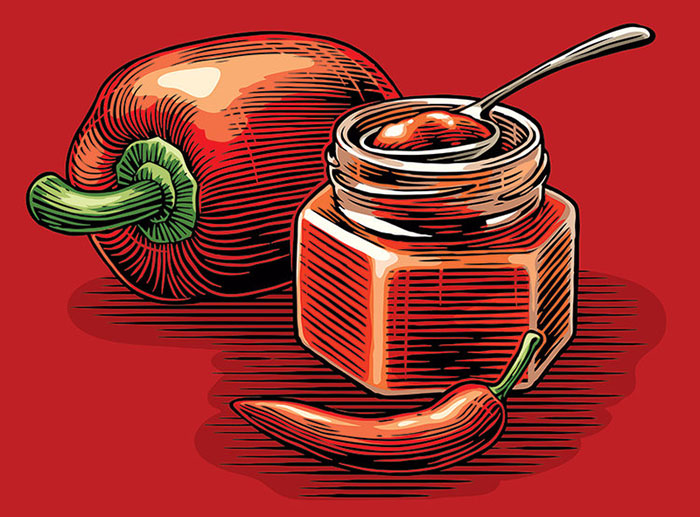 scraper board food packaging illustrations