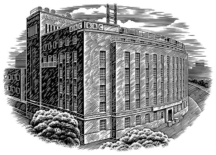scraperboard illustration of a large building