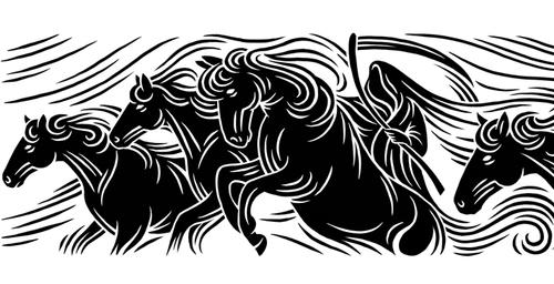 horses woodcut-style illustration