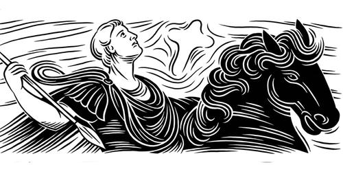 woodcut editorial illustration of a roman emperor