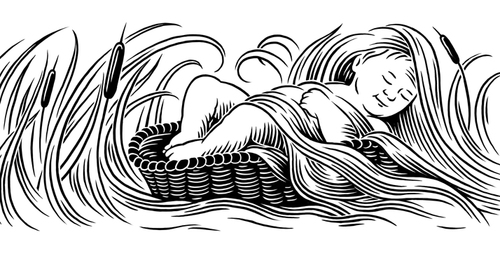 scraperboard editorial illustration of baby moses