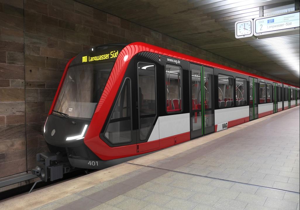 Vzhled nových jednotek G1 pro Norimberk přibližuje tato vizualizace. Jednotky jsou určeny pro provoz na lince U1. (zdroj: Siemens AG, ergon3design)