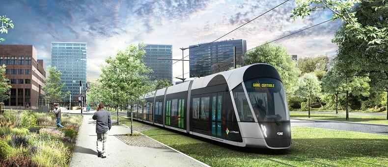 Moderní tramvajové dopravy se Lucemburk dočká v roce 2017. Kompletně má být 16,2 km dlouhá trať dokončená do roku 2021. (zdroj: LUXTRAM)