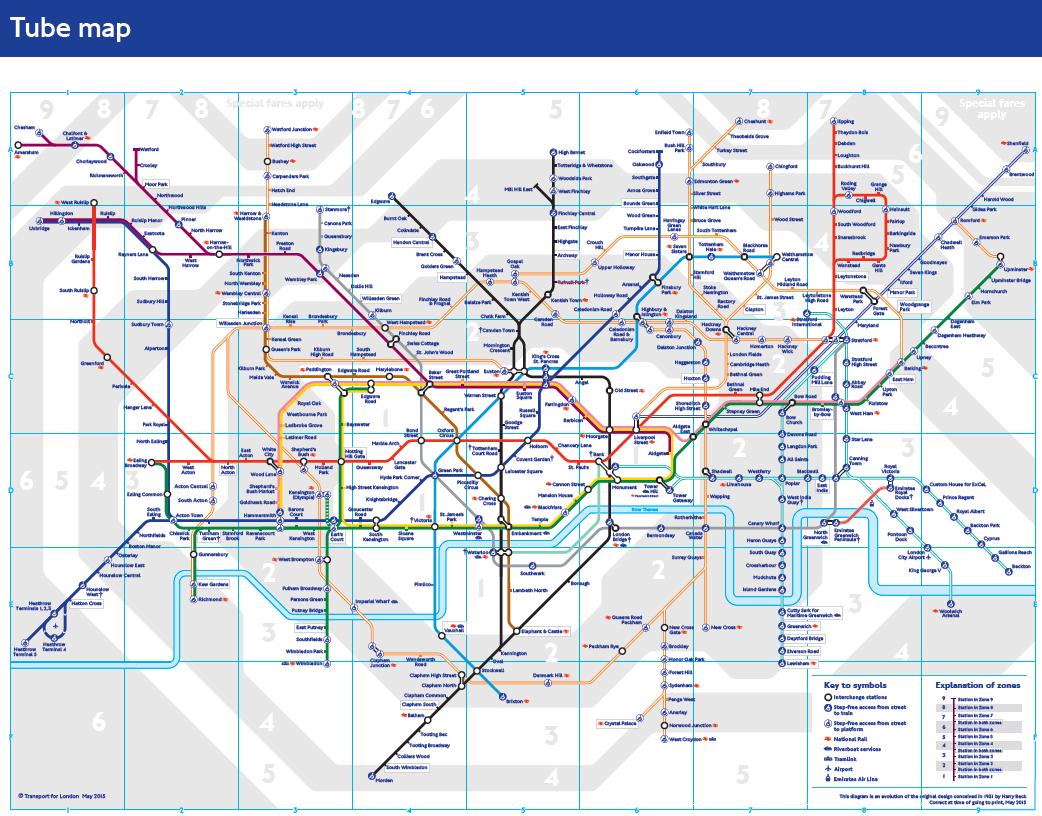 Mapa londýnského metra. Bakerloo line je značena hnědou barvou. (zdroj: TfL)