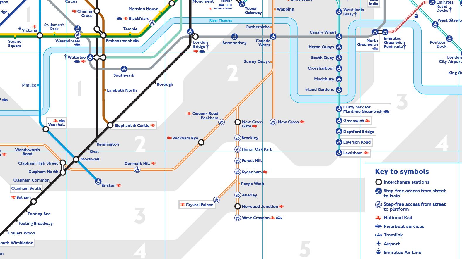 Výřez z mapy londýnského metra. Na levé straně můžete vidět současnou konečnou stanici hnědé trasy Bakerloo Line (Elephant & Castle), na pravé straně pak konečnou Lewisham systému DLR. Právě do Lewishamu by mělo prodloužení Bakerloo Line zamířit. (zdroj: TfL)