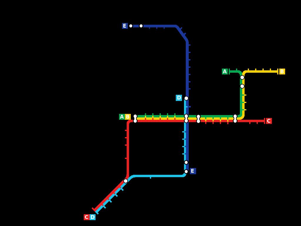 Současná síť metra v Rotterdamu. (zdroj: Wikipedia.org)