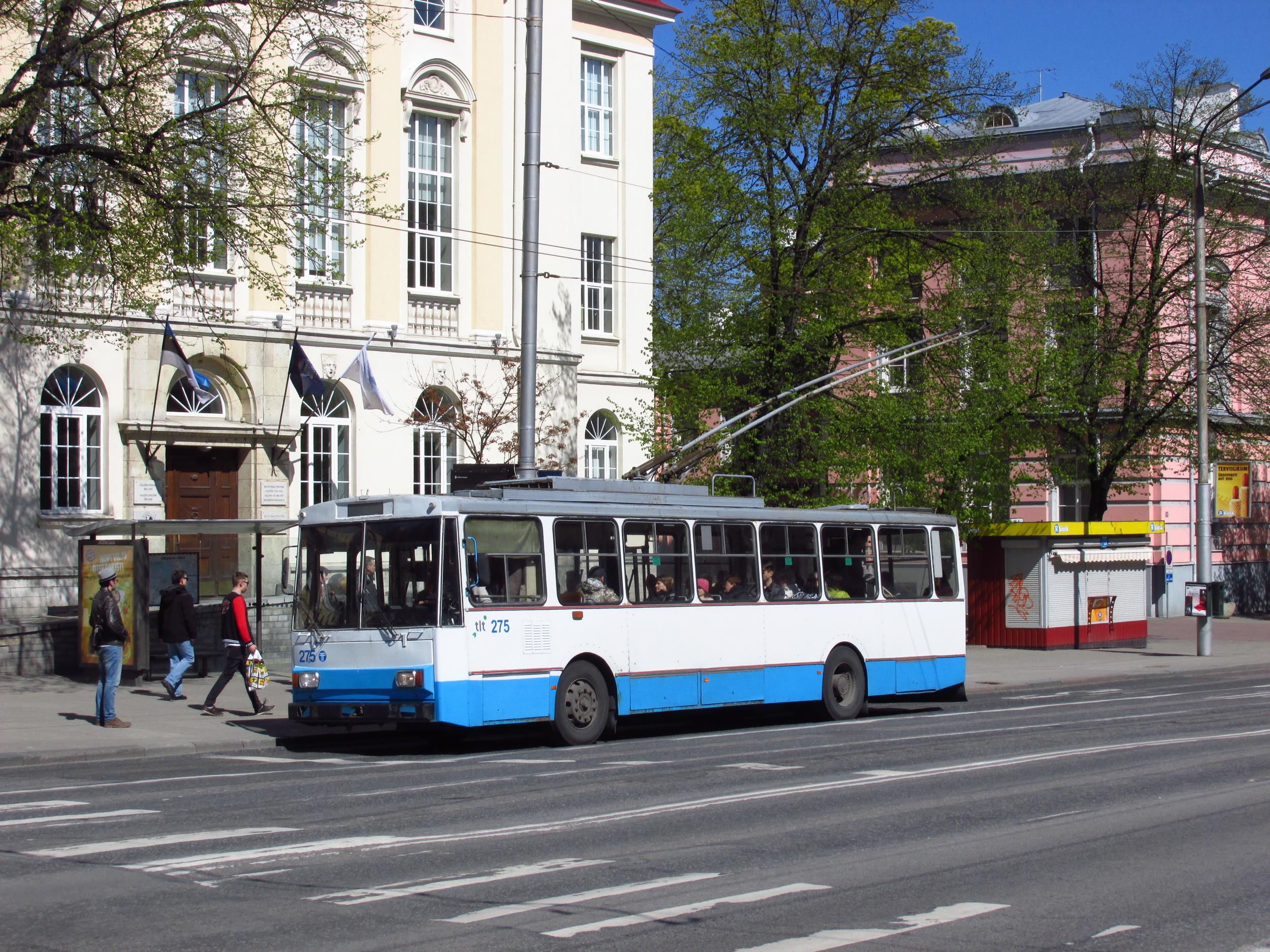 Trolejbus Škoda 14 Tr zachycený dne 16. 5. 2015 v ulicích Tallinnu. (foto: Ing. Filip Jiřík)