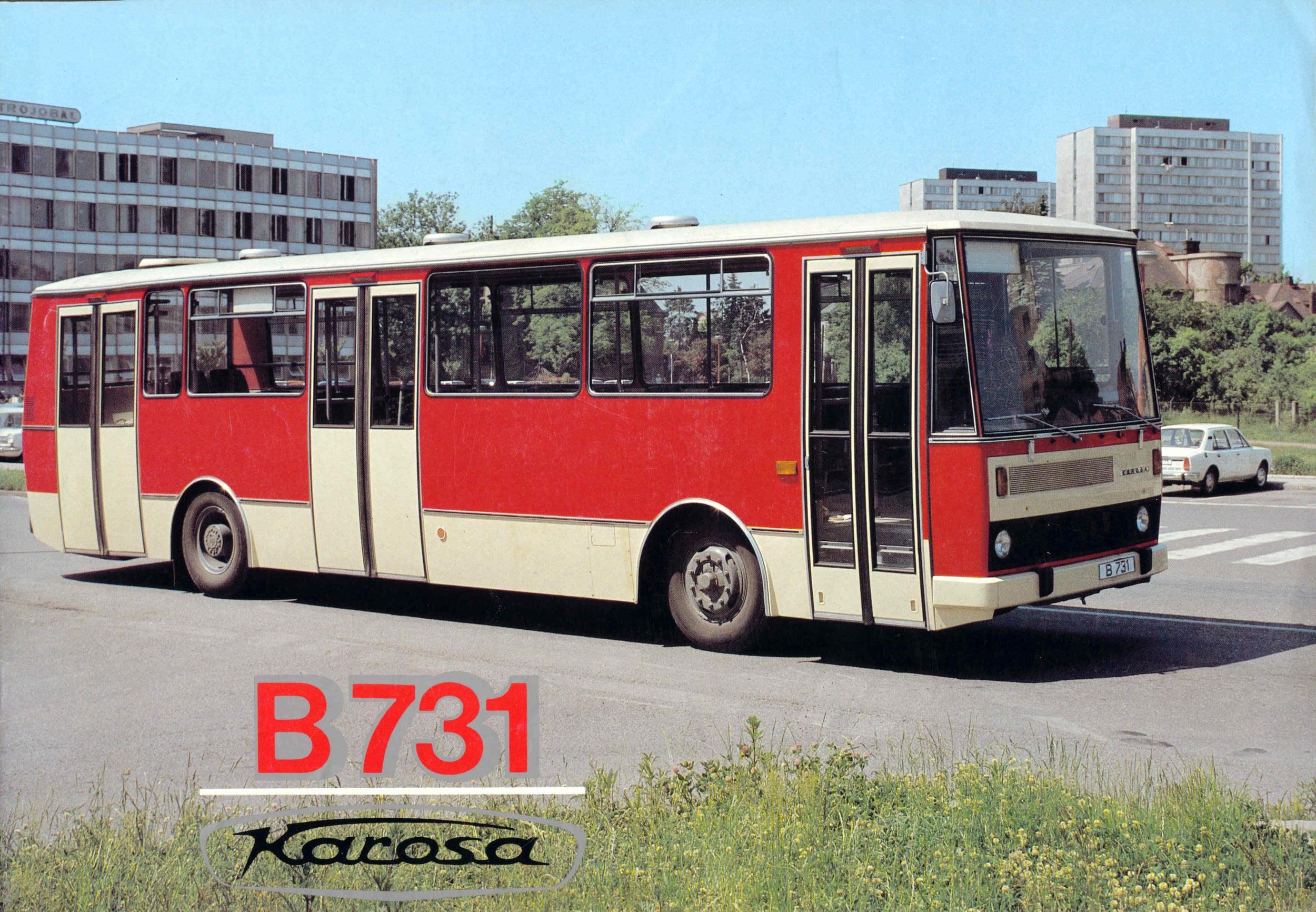 Titulní strana prospektu na autobusy Karosa B 731 z 80. let. (sbírka: Libor Hinčica)