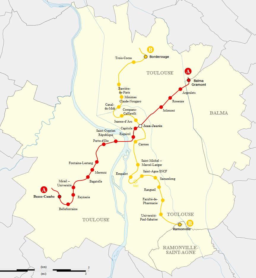 Síť linek metra v Toulouse. (zdroj: Wikipedia.org)