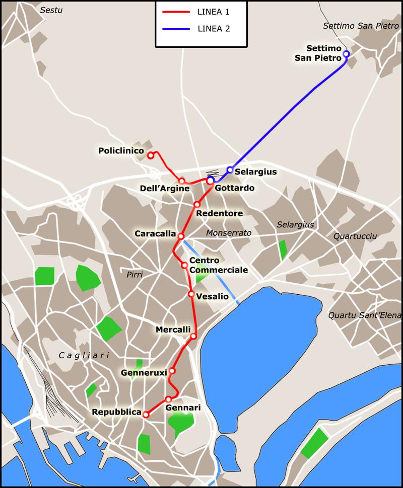 Plán linkového vedení tramvají na Sardinii. Nehoda se stala mezi zastávkami Vesalio a Centro Commericale. (zdroj. Wikipedia.org)