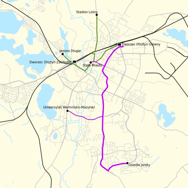 Plán tramvajových tratí v Olsztyně. (zdroj: Wikipedia.pl)