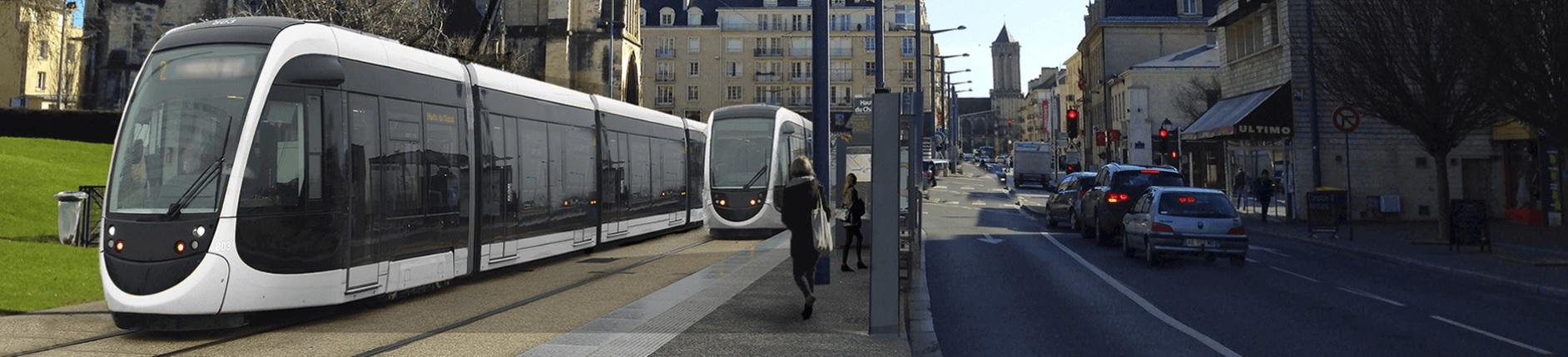 Vizualizace provozu klasických tramvají v Caen. (zdroj: http://www.tramway2019.com/)
