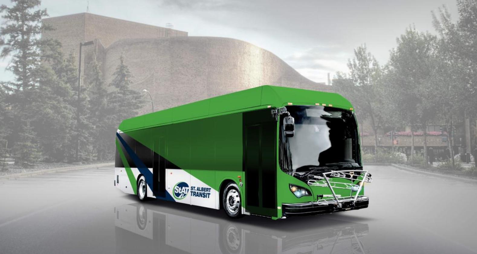 Vizualizace autobusu BYD pro kanadské město St. Alberta