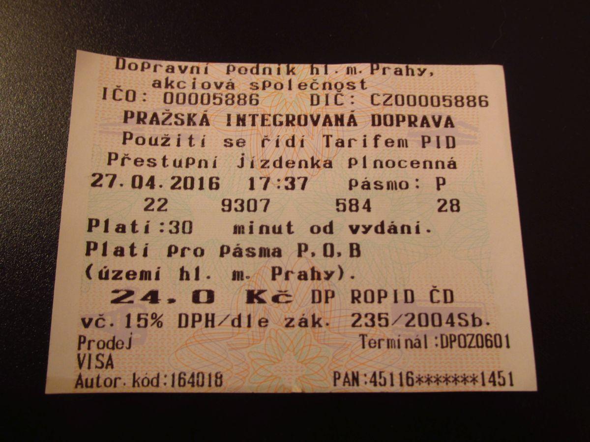 Ukázka jízdenky vydané automatem v tramvaji. (foto: Ing. Filip Jiřík)