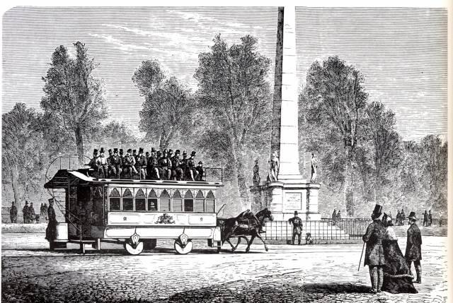 Koňka v ulicích Kodaně v období okolo roku 1863. (zdroj: Wikipedia.org)