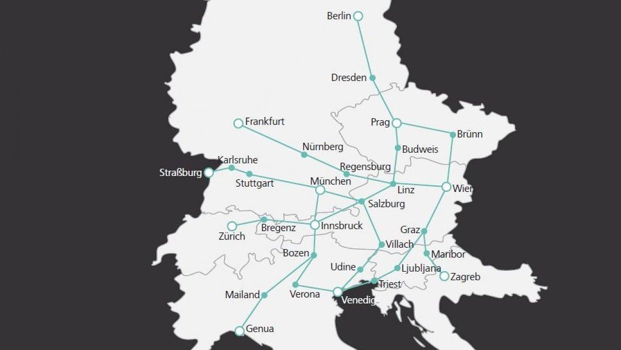 Spoje lze využít jen pro mezinárodní přepravu. Pozice Brna je na mapě zakreslena poněkud severněji... (zdroj: ÖBB)