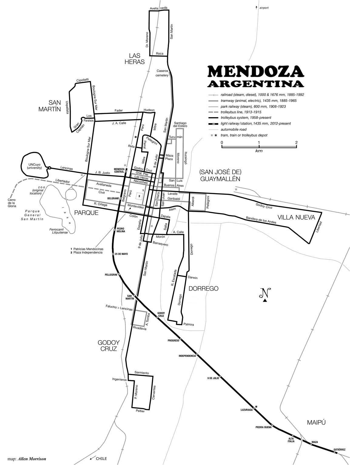 Z uveřejněné mapky vyplývá, že trolejbusová síť tu tramvajovou téměř bezezbytku nahradila a nadto ji dnes svým rozsahem přesahuje. Nicméně městská kolejová doprava se do Mendozy navrátila, a to v podobě rychlodrážní tramvaje, která se již brzy dočká svého prodloužení a která je na mapce rovněž zřetelná. (autor: Allen Morrison)