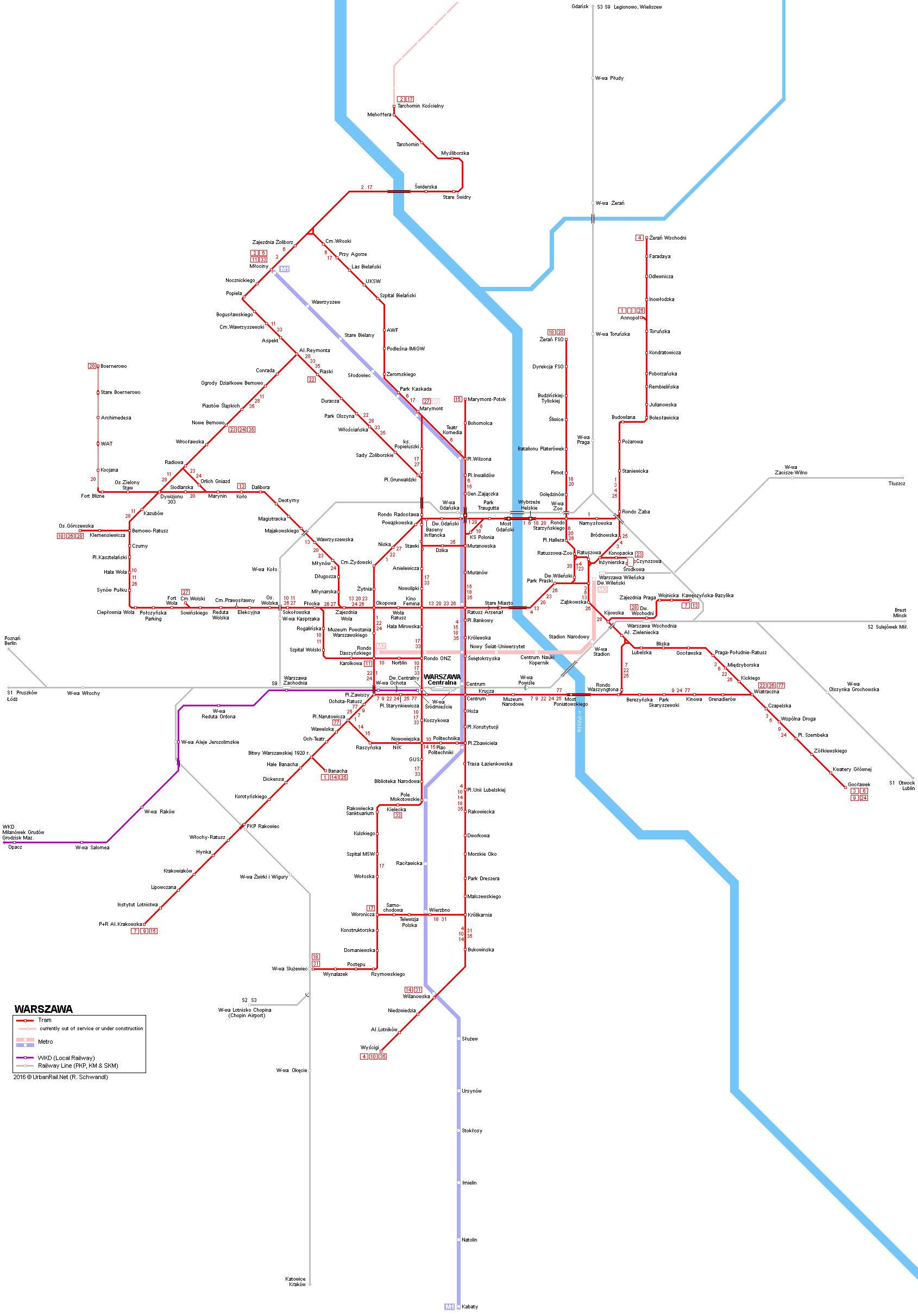 Tramvajová síť ve Varšavě i s vyznačeným plánovaným prodloužením na severu města. (zdroj: UrbanRail.net).