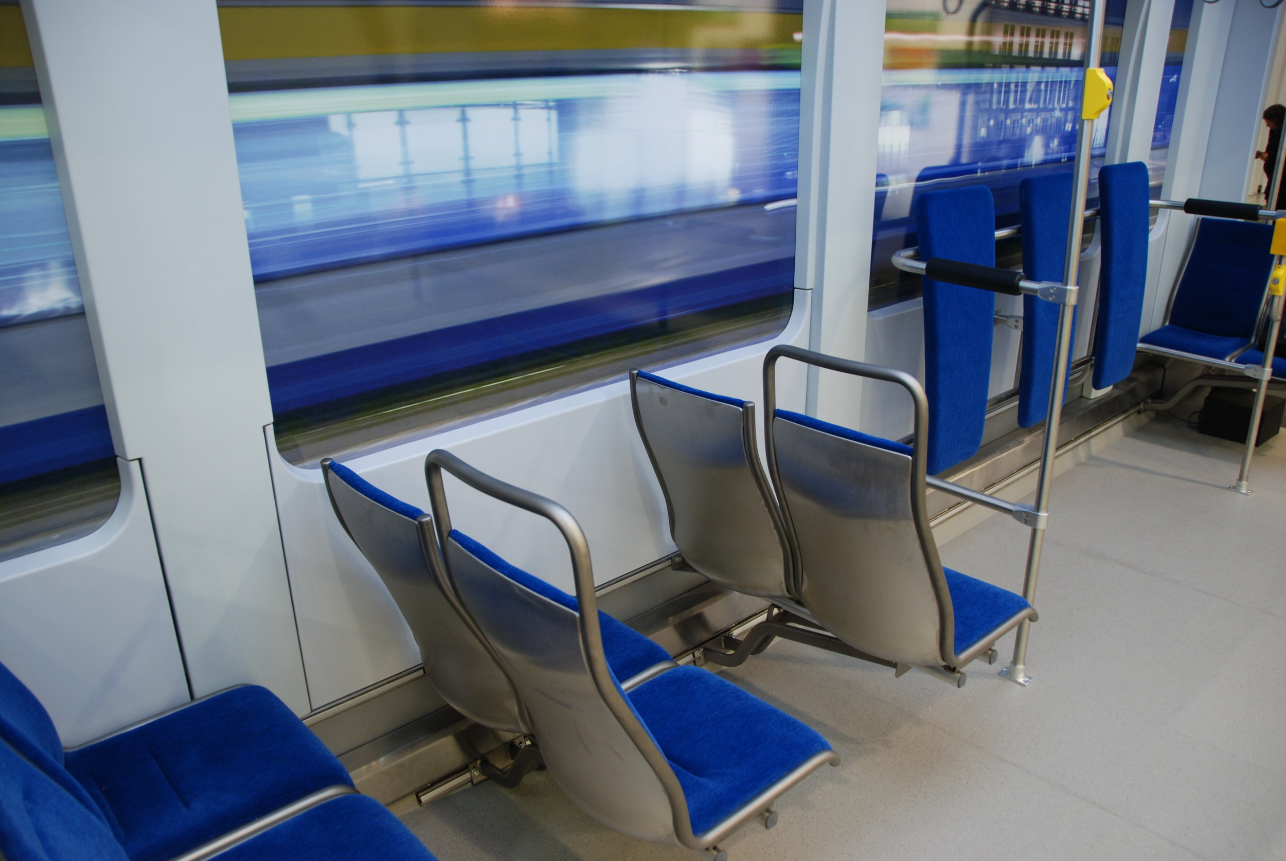 Pohled do makety interiéru vozu Tramino pro Lipsko na veletrhu InnoTrans. (foto: Libor Hinčica)