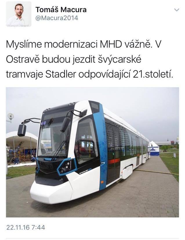 Zprávu ráno na svém twitterovém účtu zveřejnil přimátor Ostravy.