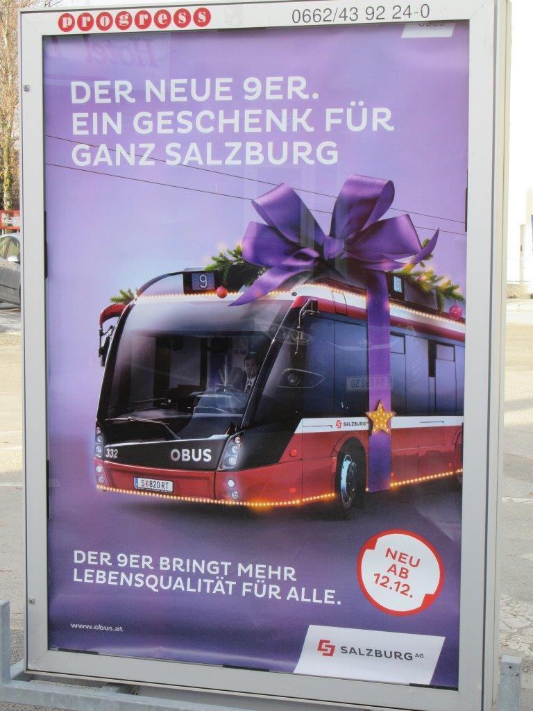 """Nová """"devítka"""". Dárek pro celý Salzburg... Nová trolejbusová linka se stala také součástí marketingu města. (foto: Gunter Mackinger)"""