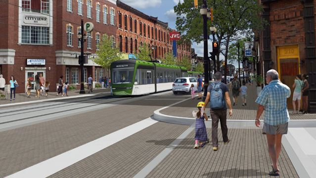 Vizualizace tramvaje v ulicích Hamiltonu. (zdroj: www.hamilton.ca)
